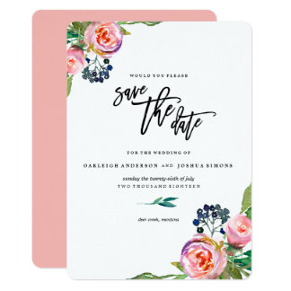 Spring Bohemian Bouquet Save the Date Card