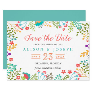 Spring Botanical Floral Turquoise | Save the Date 13 Cm X 18 Cm Invitation Card
