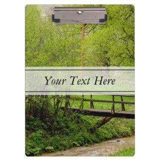 Spring Bridge, Lush Green Landscape Photograph Clipboard
