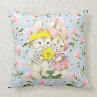 Spring Bunny Couple Floral Throw Pillow