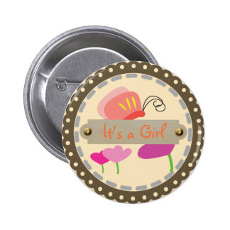 Spring Butterflies (It's a Girl) 6 Cm Round Badge