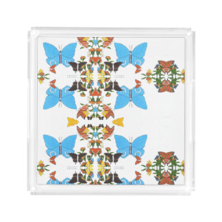 Spring Butterfly Color Mirrored Collage Acrylic Acrylic Tray