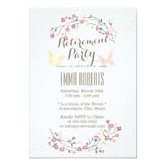 Spring Butterfly & Flowers Retirement Party Card