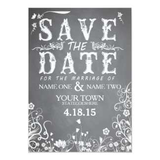 Spring Chalkboard Wedding Save the Date Card