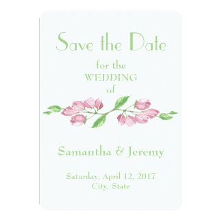 Spring Cherry Blossom Flowers Save the Date Floral 13 Cm X 18 Cm Invitation Card