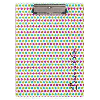 spring colored dots personalized by name clipboards