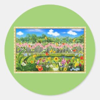 spring cottage garden classic round sticker