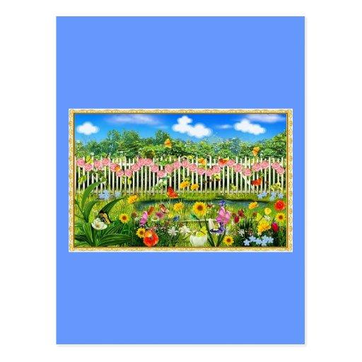 spring cottage garden post cards