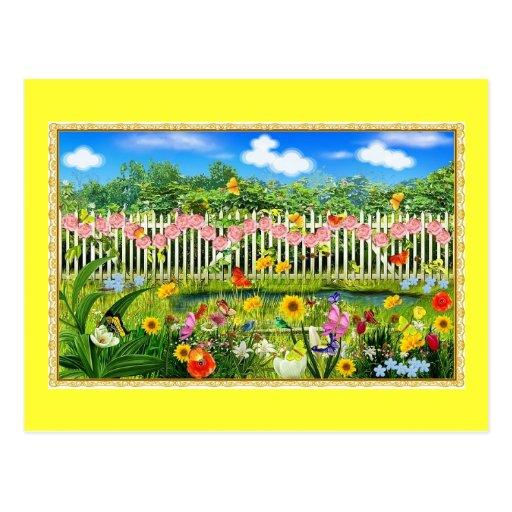 spring cottage garden postcard