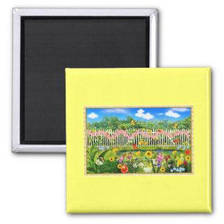 spring cottage garden square magnet