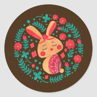 Spring Easter Bunny Classic Round Sticker