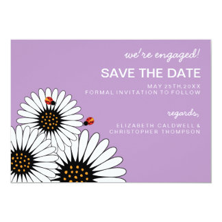Spring Fling Daisies SAVE THE DATE-Violet 13 Cm X 18 Cm Invitation Card