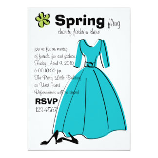 Spring Fling Fashion Illustration 13 Cm X 18 Cm Invitation Card