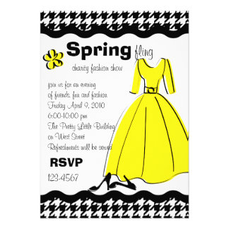 Spring Fling Fashion Illustration Personalized Invites