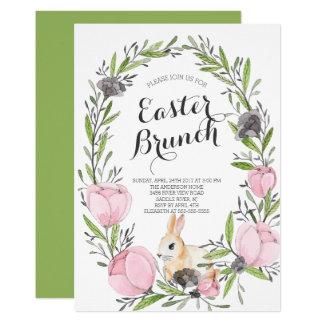 Spring Floral Bunny Easter Invitation