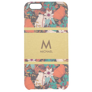Spring Floral Red & Golden Monogram Uncommon Clear Clear iPhone 6 Plus Case