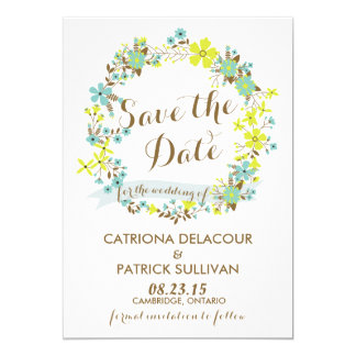 Spring Floral Wreath Save the Date Announcement