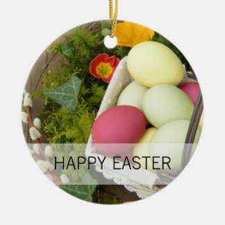 Spring Flowers and Basket of Easter Eggs Christmas Ornament