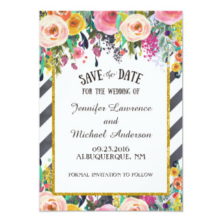 Spring Flowers and stripes Save the Date 13 Cm X 18 Cm Invitation Card