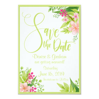 Spring Flowers Custom Save the Date Card
