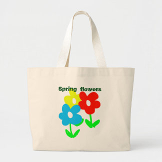 Spring flowers (customize-able text) artwork jumbo tote bag
