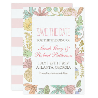 Spring Flowers Doodle Wedding Save The Date Card