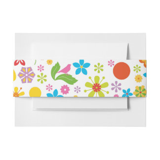 Spring Flowers Invitation Belly Band