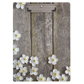 Spring Flowers On Wooden Table Clipboard