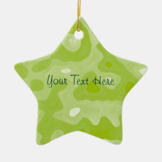 Spring Green and White Abstract Pattern Christmas Ornament