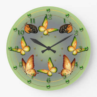 Spring Green Butterflies Large Clock