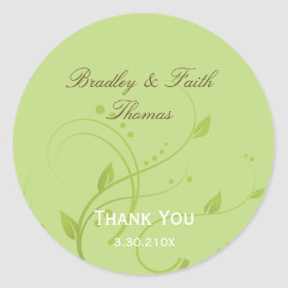 Spring Green & Chocolate Wedding Collection Favor Classic Round Sticker