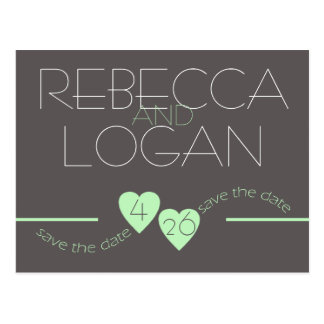 Spring Green Hearts Save the Date Postcard