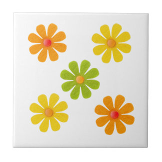 Spring green, yellow, orange flowers for kitchen small square tile
