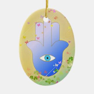 Spring Hand of Fatima Ceramic Oval Decoration