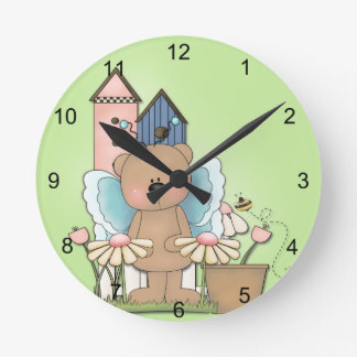 Spring Has Sprung, Adorable Butterfly Bear Clock