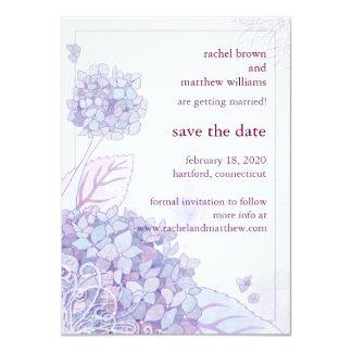 Spring Hydrangea + Swirls Wedding Save the Date 11 Cm X 16 Cm Invitation Card
