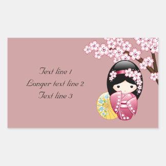 Spring Kokeshi Doll - Cute Japanese Geisha on Pink Rectangular Sticker