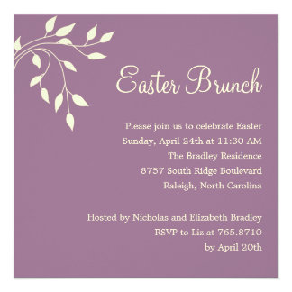 Spring Leaves Easter Party Invitation