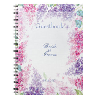 Spring Lilac Flower Floral Wedding guest book Notebooks