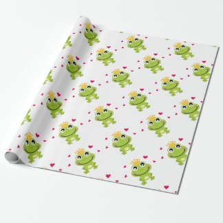Spring little green Frog in love Wrapping Paper