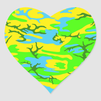 Spring Meadow Camo Heart Sticker