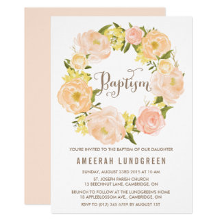 Spring Peonies Wreath Baptism Invitation