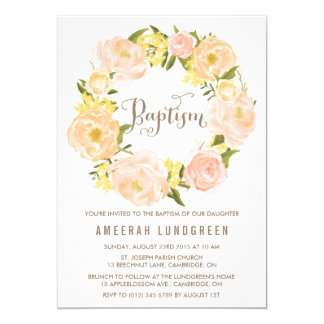 Spring Peonies Wreath Baptism Invitation