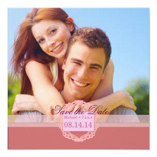Spring pink save the date card