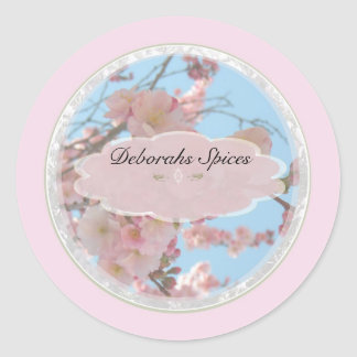 Spring Pink tree flowers spice jar labels Round Sticker