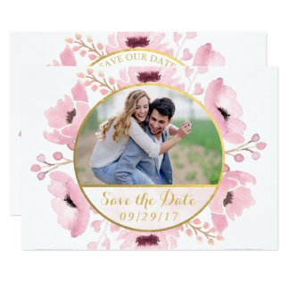 Spring Pinks Watercolor Floral Save The Date Card