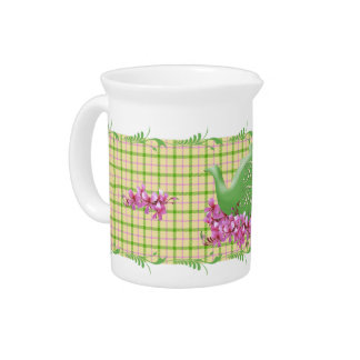 Spring Plaid Teapot and Flowers Pitcher