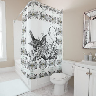 Spring Robin Patterned Shower Curtain
