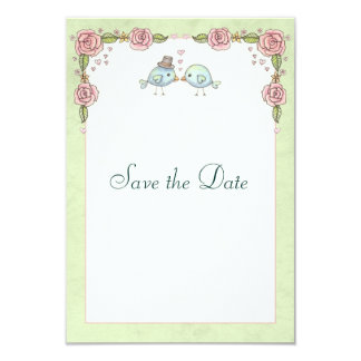 Spring Roses and Birds Wedding Save the Date Card
