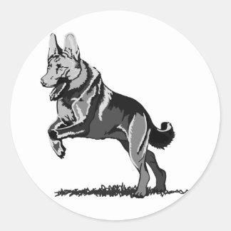 Spring Schäferhund Runder Sticker